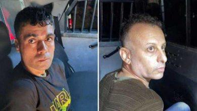 صورة اعتقال إثنين من الأسرى الفلسطنيين الفارين من سجن جلبوع